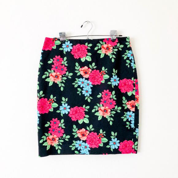Ann Taylor Dresses & Skirts - Ann Taylor Navy Blue Floral Print Skirt